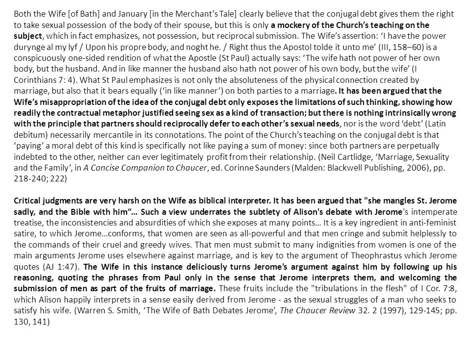 """sexual relations in wife of bath essay The wife of bath's prologue exploring the role of love in marriage and its relationship to sheila """"sexual economics, chaucer's wife of bath and."""